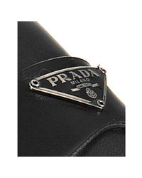 Prada - Sport Black Leather Insignia Loafers for Men - Lyst