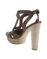 Prada | Brown Stitched Vitello Leather Platform Sandals | Lyst