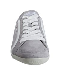 Prada - Gray Sport Grey Perforated Suede Striped Sneakers - Lyst