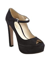 Prada | Blue Dark Navy Suede Peep Toe Mary Jane Platform Pumps | Lyst