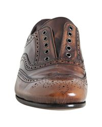 Prada - Brown Tobacco Distressed Leather Laceless Wingtip Oxfords - Lyst
