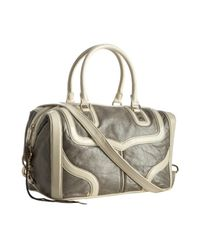 Rebecca Minkoff | Gray Pearlized Grey Leather Mab Bombe Patent Trim Satchel | Lyst