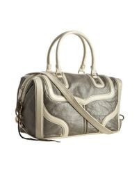 Rebecca Minkoff - Gray Pearlized Grey Leather Mab Bombe Patent Trim Satchel - Lyst