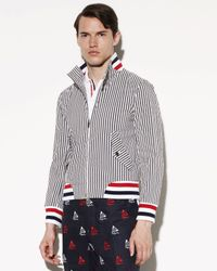 Thom Browne - Gray Striped Seersucker Jacket for Men - Lyst
