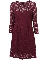 TOPSHOP - Purple Sweetheart Lace Flippy Dress - Lyst