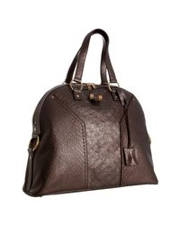 Saint Laurent | Brown Moro Snake Embossed Leather Muse Tote | Lyst