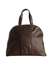 Saint Laurent - Brown Moro Snake Embossed Leather Muse Tote - Lyst