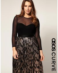 ASOS Collection - Black Asos Curve Jersey Body with Mesh - Lyst