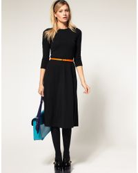 ASOS Collection | Black Asos Midi Dress with Belt | Lyst