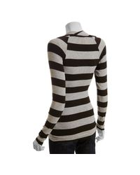 Bailey 44 - Gray Heather Grey Striped Jersey Long Sleeve Cowl Neck Top - Lyst
