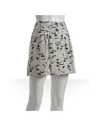 BCBGeneration | Natural Light Sand Greyhound Printed Woven A Line Skirt | Lyst