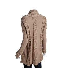 BCBGMAXAZRIA - Brown Tan Wool Blend Cable Knit Cardigan Sweater - Lyst