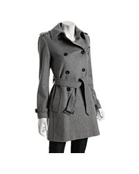 Burberry - Gray Grey Wool-cashmere Buckingham Belted Trench - Lyst