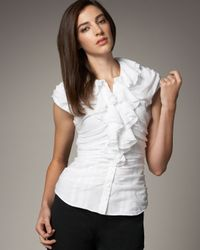 Catherine Malandrino | White Ruched Ruffle-front Top | Lyst