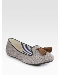 Charles Philip - Gray Sophie Wool Herringbone Tassel Loafers - Lyst