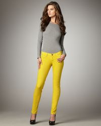 Current/Elliott - Yellow Skinny Ankle Pants, Lemongrass - Lyst