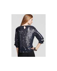 DKNY | Blue Long Sleeve Silk Georgette Sequin Blouse | Lyst