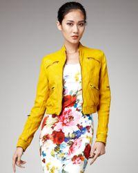 Dolce & Gabbana   Yellow Zip-pocket Leather Jacket   Lyst