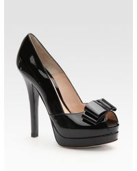 Fendi | Black Deco Bow Trim Pump | Lyst