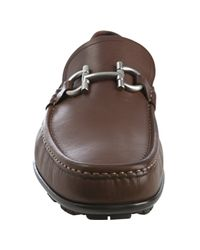 Ferragamo - Brown Leather Giglio Gancio Loafers for Men - Lyst