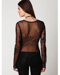 Free People - Black Embellished Long Sleeve Mesh Layering Tee - Lyst