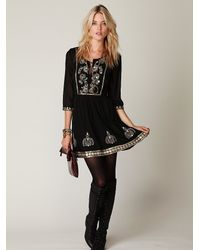 Free People | Black Tulum Smock Dress With Embroidery | Lyst