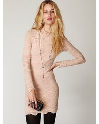 Free People - Natural High Neck Victorian Lace Dress - Lyst