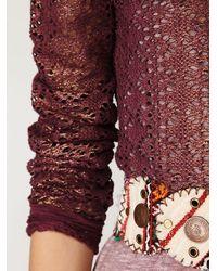 Free People - Purple Lurex Crochet Long Sleeve Top - Lyst