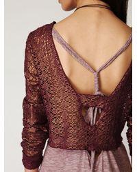 Free People | Purple Lurex Crochet Long Sleeve Top | Lyst