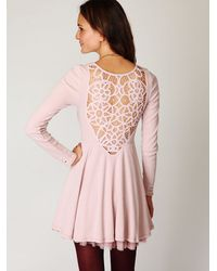 Free People | Pink Battenburg Lace Dress | Lyst