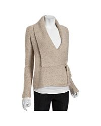 French Connection | Natural Oatmeal Wool Blend Autumn Walk Wrap Cardigan Sweater | Lyst