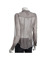 Heartloom | Gray Eggshell Spotted Silk Chiffon Camilla Tie Front Blouse | Lyst