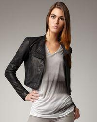 Helmut Lang - Black Cropped Leather Jacket - Lyst