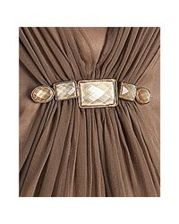 Hoaglund New York | Brown Mocha Silk Chiffon Draped Spaghetti Strap Dress | Lyst