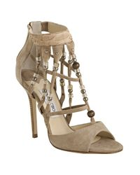 Jimmy Choo | Natural Nude Suede Beaded Della Sandals | Lyst