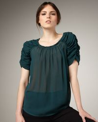 Joie - Green Aaliyah Ruch-sleeve Blouse - Lyst