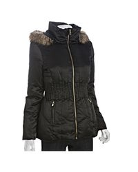 Laundry by Shelli Segal | Black Sateen Zip Front Cinched Waist Down Jacket | Lyst