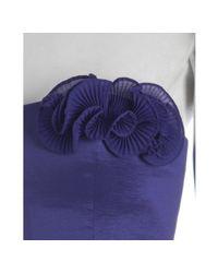 Max & Cleo   Deep Purple Taffeta Rosette Trim Strapless Dress   Lyst