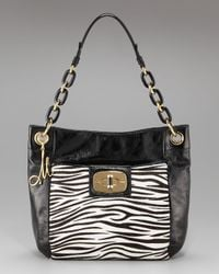 MILLY | Black Penelope Zebra-print Calf Hair Bag | Lyst