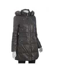 Miss Sixty - Metallic Gunmetal Quilted Hooded Down Coat with Faux Fur Trim - Lyst