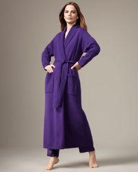 Neiman Marcus | Long Cashmere Robe, Purple | Lyst