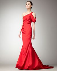 Nicole Miller | Red Cold-shoulder Mermaid Gown | Lyst