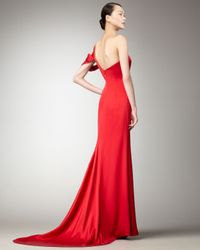 Nicole Miller - Red Cold-shoulder Mermaid Gown - Lyst