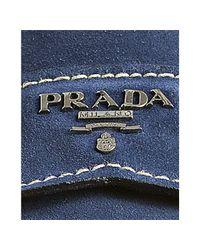 Prada | Blue Suede Logo Moc Loafers for Men | Lyst