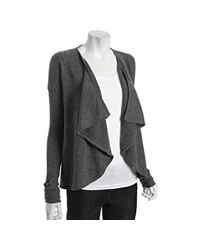 Qi | Gray Charcoal Heather Cashmere Ruched Sleeve Waterfall Cardigan | Lyst