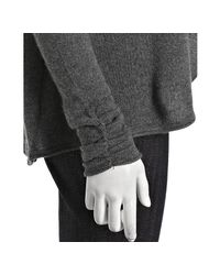 Qi - Gray Charcoal Heather Cashmere Ruched Sleeve Waterfall Cardigan - Lyst