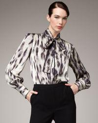 Rachel Roy | Natural Animal-print Tie-neck Blouse | Lyst
