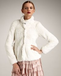 Rebecca Taylor | White Fluffy Faux-fur Coat | Lyst