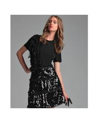 RED Valentino | Black Modal Ruffle Front T-shirt | Lyst