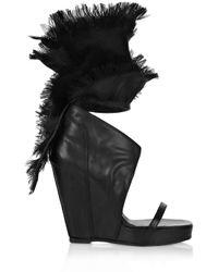 Rick Owens   Black Organza-trimmed Leather Wedge Sandals   Lyst